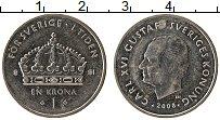 Изображение Монеты Швеция 1 крона 2008 Медно-никель XF Карл XVI