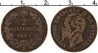 Изображение Монеты Италия 2 сентесим 1862 Медь XF Витторио Эммануил II