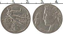 Изображение Монеты Италия 20 сентесим 1914 Медно-никель XF