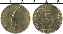 Изображение Монеты Словения 5 толаров 2000 Латунь UNC-