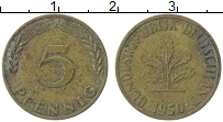 Изображение Монеты ФРГ 5 пфеннигов 1950 Латунь XF