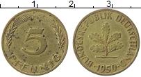 Изображение Монеты ФРГ 5 пфеннигов 1950 Латунь XF J