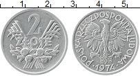 Изображение Монеты Польша 2 злотых 1974 Алюминий UNC-