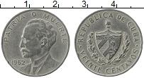 Изображение Монеты Куба 20 сентаво 1962 Медно-никель XF Хосе Марти
