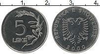Изображение Монеты Албания 5 лек 2000 Медно-никель UNC-