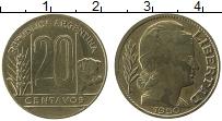 Изображение Монеты Аргентина 20 сентаво 1950 Латунь XF