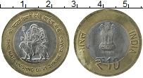 Изображение Мелочь Индия 10 рупий 2012 Биметалл XF 25 лет правления хра