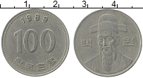 Изображение Монеты Южная Корея 100 вон 1989 Медно-никель XF