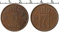 Изображение Монеты Норвегия 5 эре 1953 Бронза XF Хокон VII