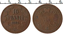 Изображение Монеты 1855 – 1881 Александр II 10 пенни 1866 Медь VF