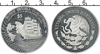 Изображение Монеты Мексика 5 песо 1999 Серебро Proof- Парусник