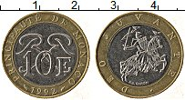 Изображение Монеты Монако 10 франков 1992 Биметалл XF Рыцарь