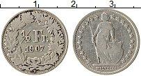 Изображение Монеты Швейцария 1/2 франка 1907 Серебро VF