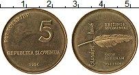 Изображение Монеты Словения 5 толаров 1994 Латунь UNC- 1000 лет Глаголицы