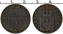 Изображение Монеты Пруссия 3 пфеннига 1862 Медь VF