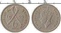 Изображение Монеты Родезия 6 пенсов 1950 Медно-никель VF Георг VI