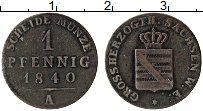 Продать Монеты Саксен-Веймар-Эйзенах 1 пфенниг 1840 Медь