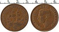 Изображение Монеты ЮАР 1 пенни 1942 Бронза XF Георг VI. Парусник