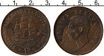 Изображение Монеты ЮАР 1 пенни 1952 Бронза XF Георг VI. Парусник