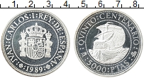 Изображение Монеты Испания 5000 песет 1989 Серебро Proof-