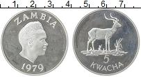 Изображение Монеты Замбия 5 квач 1979 Серебро Proof- Защита дикой природы