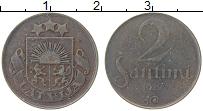 Изображение Монеты Латвия 2 сантима 1922 Медь VF
