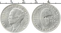 Изображение Монеты Куба 25 сентаво 1953 Серебро UNC- 100 лет со дня рожде