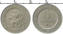 Изображение Монеты Бельгия 5 сантим 1861 Медно-никель XF+