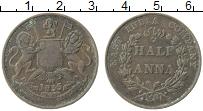 Изображение Монеты Индия 1/2 анны 1835 Медь XF- Восточно Индийская к
