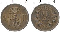 Изображение Монеты Норвегия 2 эре 1884 Медь UNC- Оскар II