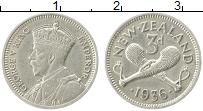 Изображение Монеты Новая Зеландия 3 пенса 1936 Серебро UNC-