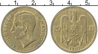 Изображение Монеты Румыния 20 лей 1930 Латунь XF+ Михай I