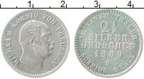 Изображение Монеты Пруссия 2 1/2 гроша 1869 Серебро XF В. Вильгельм I