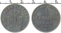 Изображение Монеты Пруссия 4 пфеннига 1868 Медь XF