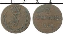 Изображение Монеты Шварцбург-Рудольфштадт 3 пфеннига 1825 Медь XF Вензель