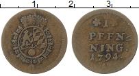 Изображение Монеты Бавария 1 пфенниг 1794 Медь XF А Курфюршество Бавар