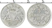 Продать Монеты Баден 3 крейцера 1866 Серебро