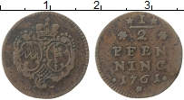 Продать Монеты Вюрцбург 1/2 пфеннига 1761 Медь