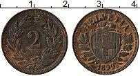 Изображение Монеты Швейцария 2 раппа 1899 Медь XF Герб