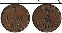 Изображение Монеты 1881 – 1894 Александр III 1 пенни 1888 Медь XF Вензель