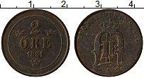 Изображение Монеты Швеция 2 эре 1881 Медь VF Оскар II