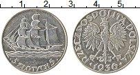 Изображение Монеты Польша 5 злотых 1936 Серебро XF 15 лет морскому порт