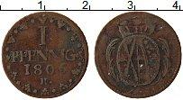 Изображение Монеты Саксония 1 пфенниг 1806 Медь VF Герб