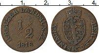 Изображение Монеты Саксе-Мейнинген 1/2 крейцера 1818 Медь XF