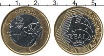 Изображение Монеты Бразилия 1 реал 2015 Биметалл UNC- Олимпийские игры в Р