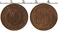 Изображение Монеты США 2 цента 1868 Медь VF- Герб