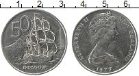 Изображение Монеты Новая Зеландия 50 центов 1977 Медно-никель UNC- Елизавета II.