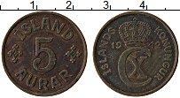 Изображение Монеты Исландия 5 аурар 1942 Бронза XF