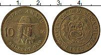 Изображение Монеты Перу 10 соль 1982 Латунь XF Тупак Амару