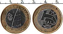 Изображение Монеты Бразилия 1 реал 2015 Биметалл UNC Олимпиада  Рио Парус